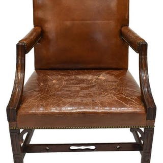 GEORGE III STYLE LEATHER UPHOLSTERED ARMCHAIR