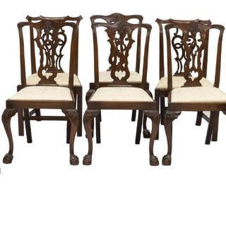 (8) SIMILARLY STYLED MAHOGANY ARM & SIDE CHAIRS