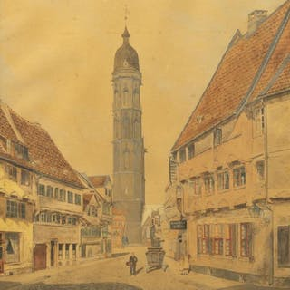 VILLAGE VIEW WATERCOLOR SIGNED A. GELPKE, 1890
