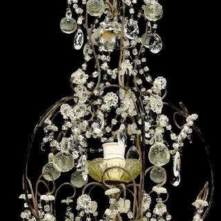 CONTINENTAL CRYSTAL & IRON SINGLE-LIGHT CHANDELIER