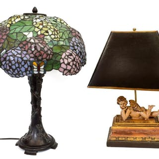(2) TABLE LAMPS, BUTTERFLY & RECLINING CHERUB