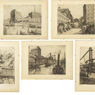 (5) RICHARD MULLER (1874-1954) HARBOUR ETCHINGS