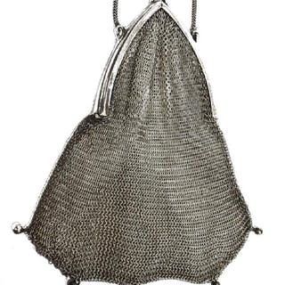 VINTAGE STERLING SILVER MESH COIN PURSE, C.1920s