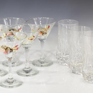 (11) FRENCH CRYSTAL HIGHBALL & MARTINI GLASSES
