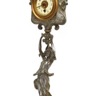 FRENCH ART NOUVEAU CAST METAL SHELF CLOCK
