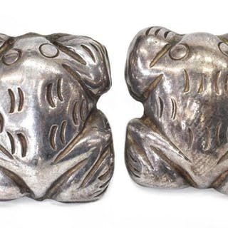WILLIAM SPRATLING (D.1967) SILVER FROG EARRINGS