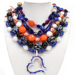 (5) ARTISAN HANDCRAFTED ART GLASS BEADED NECKLACES