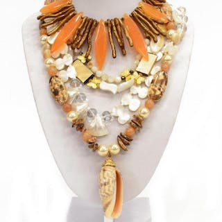 (4) ARTISAN HANDCRAFTED SHELL & BEADED NECKLACES