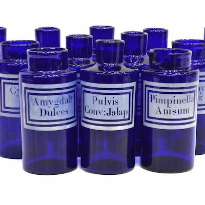 (12) FRENCH ROYAL BLUE GLASS APOTHECARY JARS