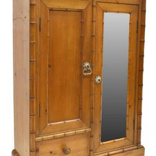 "FRENCH PINE & FAUX BAMBOO MINIATURE ARMOIRE, 23""H"