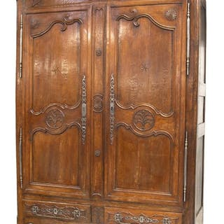 """FRENCH PROVINCIAL LOUIS XV STYLE ARMOIRE, 84.5""""H"""