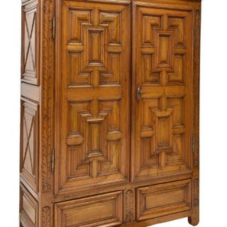 FRENCH LOUIS XIII STYLE WALNUT ARMOIRE, 19TH C.