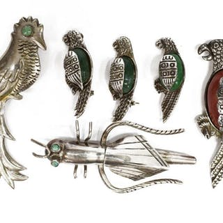 (6) SILVER ANIMAL BROOCHES, GRASSHOPPER, PARROT