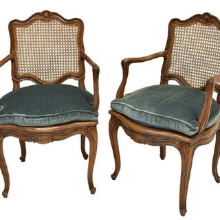 (2) FRENCH LOUIS XV STYLE WALNUT CANED FAUTEUILS
