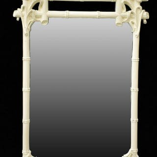 WHITE LACQUERED BAMBOO WALL MIRROR