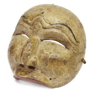 JAVANESE PAINTED WOOD DANCE HALF-MASK