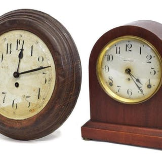 (2) SETH THOMAS SHELF & PRESSED METAL WALL CLOCKS