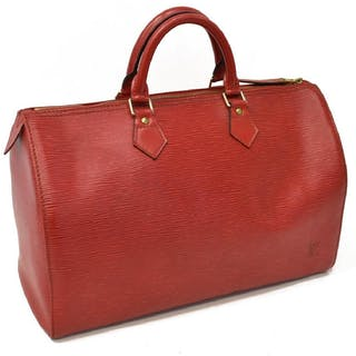 LOUIS VUITTON 'SPEEDY 30' RED EPI LEATHER HANDBAG