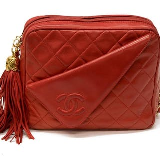 b937c2a8d VINTAGE CHANEL CAMERA BAG RED QUILTED LEATHER