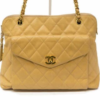VINTAGE CHANEL BEIGE QUILTED CAVIAR LEATHER TOTE
