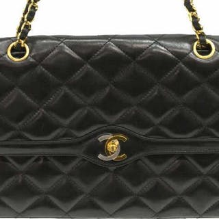 139cc128a CHANEL CLASSIC DOUBLE FLAP BAG BLK QUILTED LEATHER