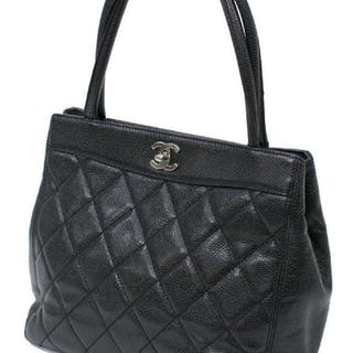 CHANEL BLACK QUILTED CAVIAR LEATHER TURNLOCK TOTE