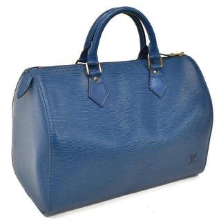 LOUIS VUITTON 'SPEEDY 30' BLUE EPI LEATHER HANDBAG