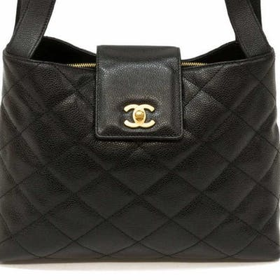 CHANEL CC SHOULDER BAG BLK QUILTED CAVIAR LEATHER