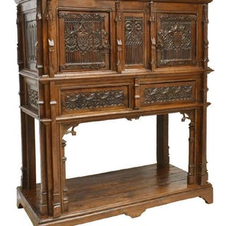 FRENCH GOTHIC REVIVAL HEAVILY CARVED SIDEBOARD