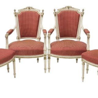 (4) FRENCH LOUIS XVI STYLE SEATING GROUP / CHAIRS