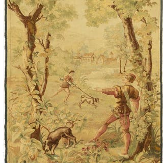 FRENCH HAND-WOVEN TAPESTRY, HUNTING SCENE
