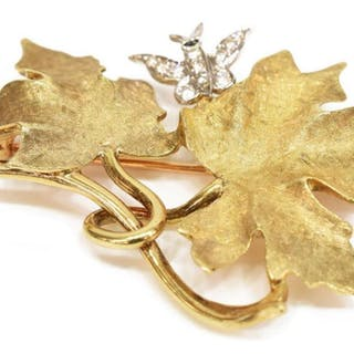 ESTATE 14KT YELLOW GOLD DIAMOND BUTTERFLY BROOCH