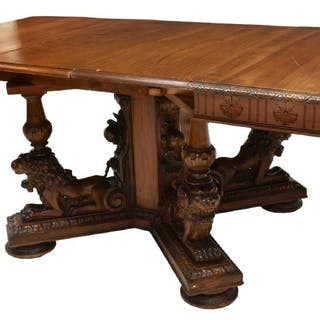 RENAISSANCE REVIVAL WELL-CARVED WALNUT TABLE