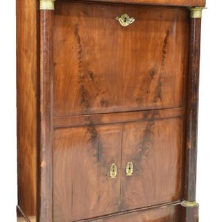 FRENCH EMPIRE STYLE MAHOGANY SECRETAIRE A ABATTANT
