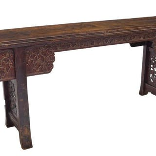 "LONG CHINESE ELMWOOD ALTAR TABLE, 98""L"