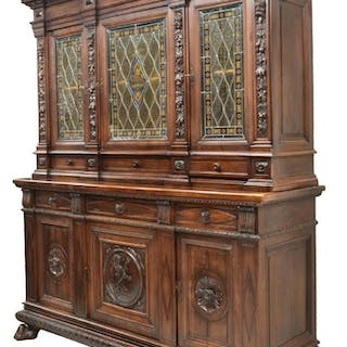 ITALY RENAISSANCE REVIVAL STAINED GLASS SIDEBOARD