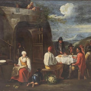 FRENCH SCHOOL OIL PAINTING, LE REPAS