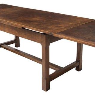 "CONTINENTAL OAK DRAW LEAF DINING TABLE, 102.25""l"