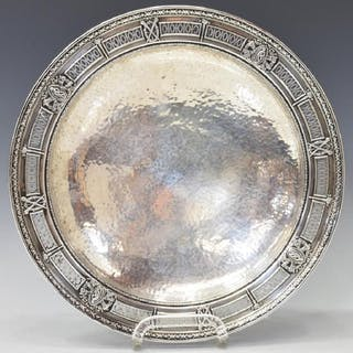 NEOCLASSICAL HAMMERED STERLING RETICULATED TAZZA
