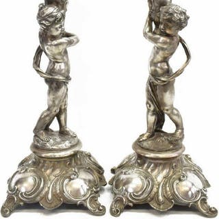 2) CONTINENTAL SILVER TONE METAL PUTTI TABLE LAMPS