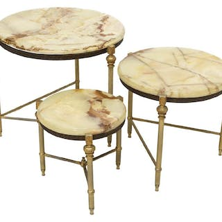 (3) FRENCH LOUIS XVI STYLE ONYX TOP NESTING TABLES
