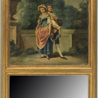 FRENCH TRUMEAU MIRROR W/ PAINTED COURTING SCENE