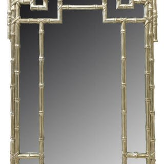 CHINESE CHIPPENDALE STYLE SILVER GILT WALL MIRROR