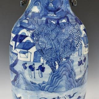 CHINESE BLUE & WHITE PORCELAIN HANDLED VASE