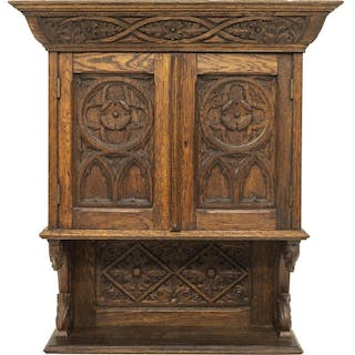 GOTHIC REVIVAL CARVED OAK HANGING CUPBOARD CABINET