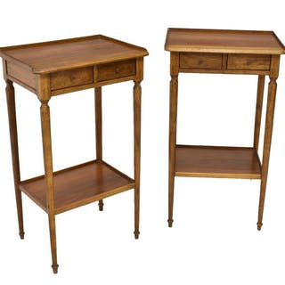 (2) FRENCH LOUIS XVI STYLE WALNUT SIDE TABLES