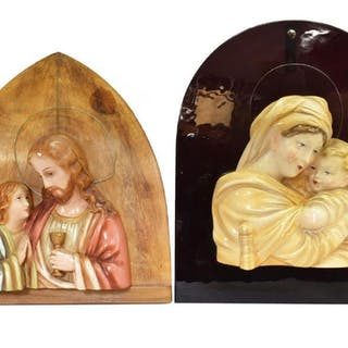 (2) CONTINENTAL POLYCHROME PAINTED RELIGOUS RELIEF