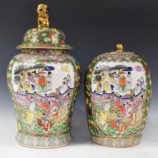 (2) CHINESE ROSE MEDALLION PORCELAIN TEMPLE JARS