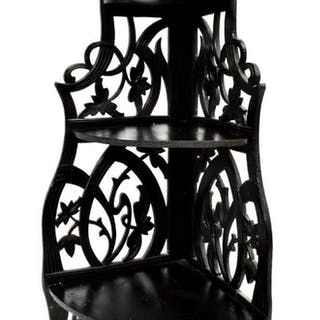 VICTORIAN EBONIZED HANGING CORNER SHELF
