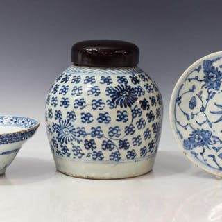 (3) CHINESE BLUE & WHITE PORCELAIN TABLE ITEMS